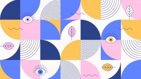Eyes leaves mosaic