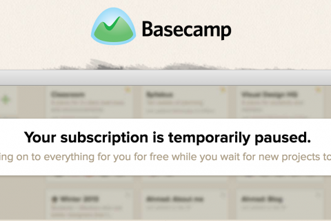 Basecamp paused banner