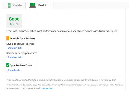 Pagespeed insights desktop test