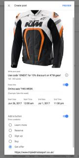 Google business offer input