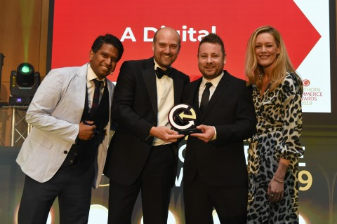 Andrew Armitage and Dean Duffield collect an award for A Digital at the 2019 Northern eCommerce Awards