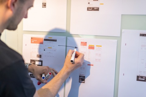 Website planning on a whiteboard