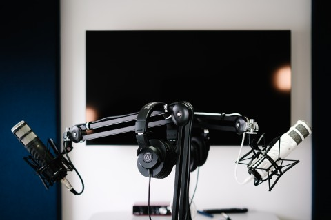 Podcast Microphones in a Studio