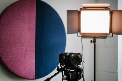 Acoustic panels and lights in a podcast studio